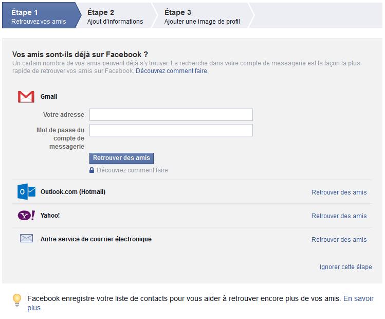 etape d'inscription sur facebook