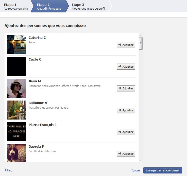 Trouver des amis sur facebook